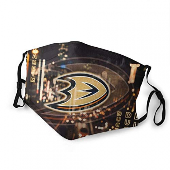Quintina Anaheim Ad Team Ducks Washable Reusable Bandana Face Cover Mask with Filter for NBA Team Anaheim Ducks face cover Black,Gold,Khaki