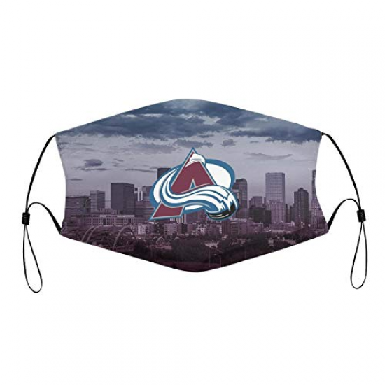 LHSCVJSEKL Adjustable Face Cover with 2 PCS Filter Unisex Nose & Mouth Bandana with Safety Shield Fashion Anti Air Dust Cover for NBA Team Colorado Avalanche face cover White,Red,Blue
